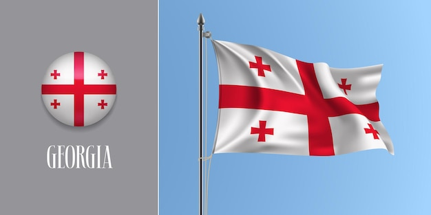 Georgia sventola bandiera sul pennone e icona rotonda illustrazione vettoriale. mockup 3d realistico con design della bandiera georgiana e pulsante cerchio