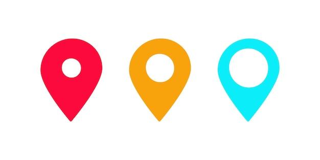 Set di geotag geolocalizzazione icona piana di vettore puntatore pin indicatore di geotag geo