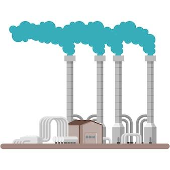 Illustrazione di vettore della centrale elettrica di energia geotermica su white