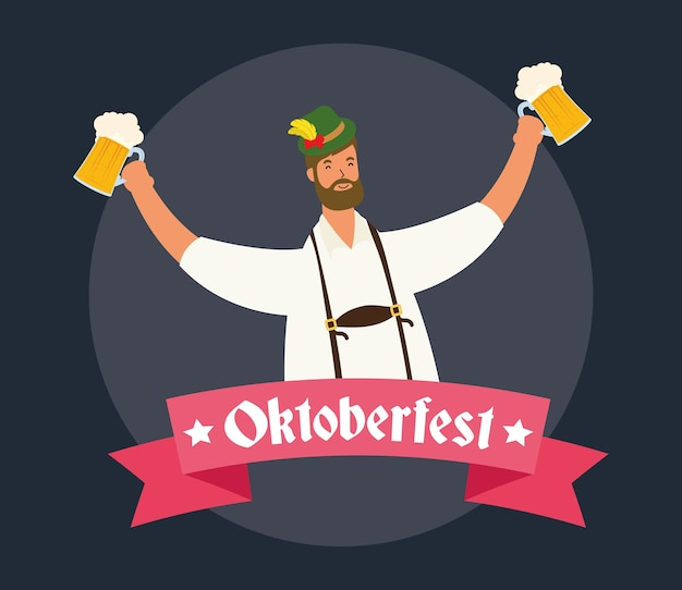 Coppia tedesca indossando tuta tirolese bere birre caratteri illustrazione vettoriale design