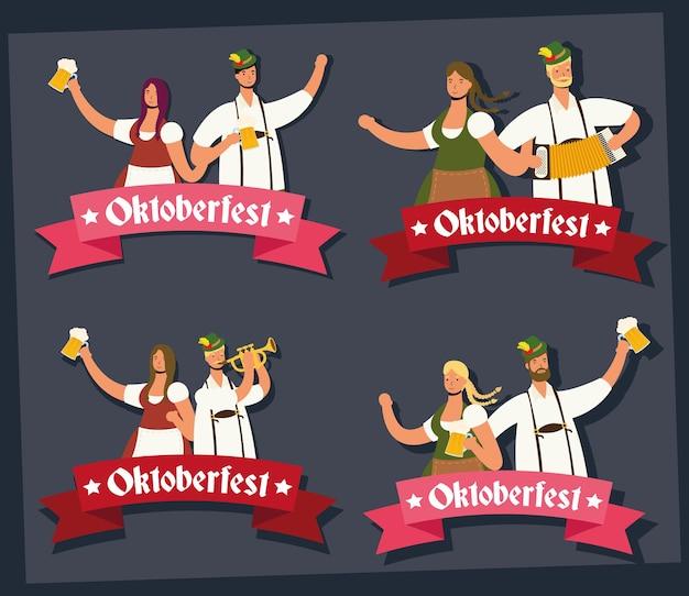 Coppie tedesche che indossano tuta tirolese bere birre e suonare strumenti illustrazione vettoriale design