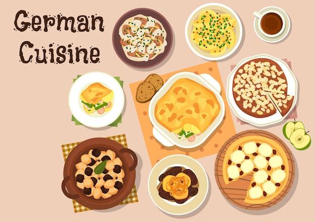 Cucina tedesca con fegato di maiale berlinese con mele, patate alla senape, spezzatino di manzo con panna acida, stufato di salsicce di verdure, stufato di rognone di maiale, torta di mele e cheesecake