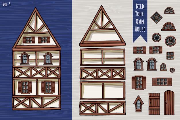 Case tedesche, collezione di elementi, set di oggetti, tetto, finestre, porte. fahverk architettura stile carino. disegnato a mano.