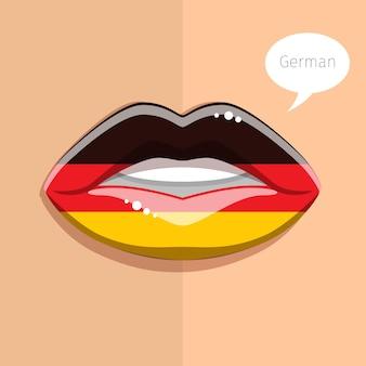 Concetto di lingua tedesca. labbra glamour con il trucco della bandiera tedesca, volto di donna.