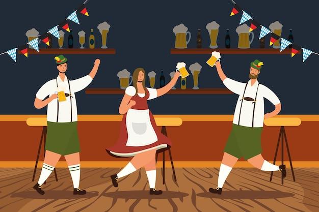Persone tedesche che indossano tuta tirolese bere birre caratteri illustrazione vettoriale design