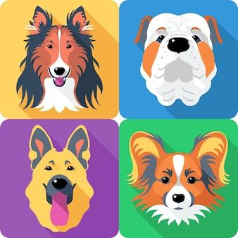 Pastore tedesco e bulldog inglese razza faccia icona design piatto