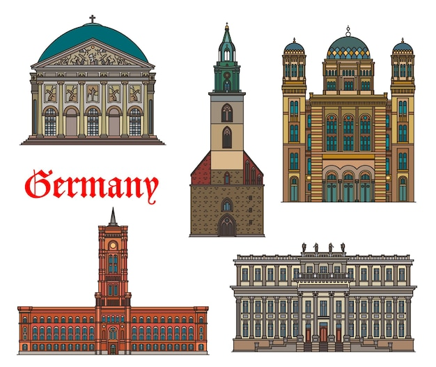 Germania, edifici di architettura di berlino e punti di riferimento di viaggio, vettore. la storica tedesca st mary church, la cattedrale di santa edvige e il red city hall, il palazzo del principe ereditario e la nuova sinagoga di berlino, germania