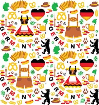 Collezione di elementi di germania. modello senza soluzione di continuità. festa dell'oktoberfest. illustrazione vettoriale