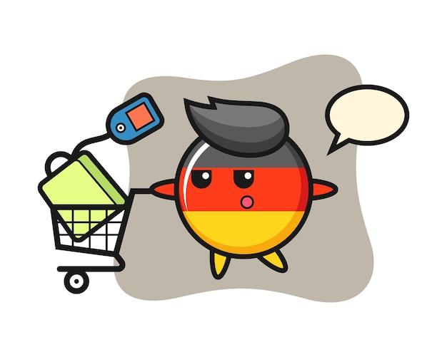 Fumetto del distintivo della bandiera della germania con un carrello della spesa