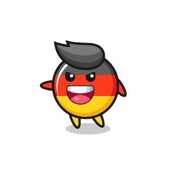Cartone animato distintivo bandiera germania con posa molto eccitata, design in stile carino per maglietta, adesivo, elemento logo