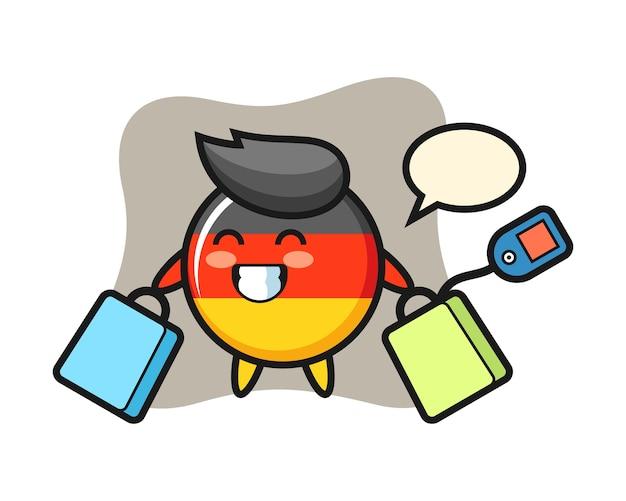 Fumetto della mascotte del distintivo della bandiera della germania che tiene un sacchetto della spesa