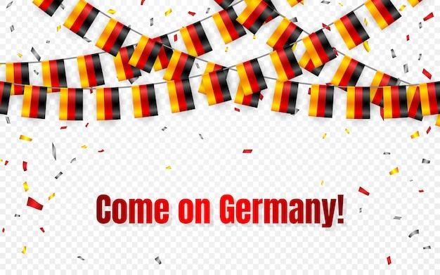 Ghirlanda di bandiere germania su sfondo trasparente con coriandoli. hang bunting per banner modello celebrazione festa dell'indipendenza tedesca,