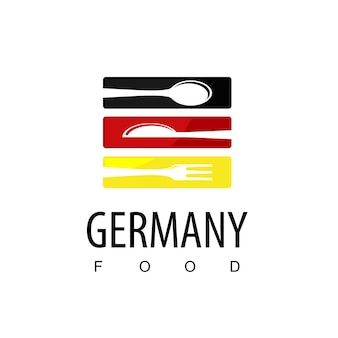 Cibo della germania, logo del ristorante con il simbolo della bandiera della germania