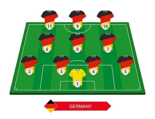 Formazione della squadra di calcio della germania sul campo di calcio per la competizione europea di calcio