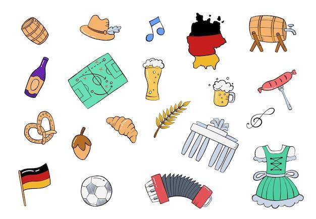 Collezione di set disegnati a mano di doodle tedesco o tedesco con illustrazione vettoriale di stile piatto contorno