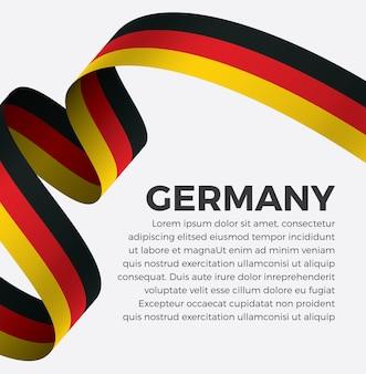 Illustrazione di vettore della bandiera del nastro della germania su una priorità bassa bianca vettore premium