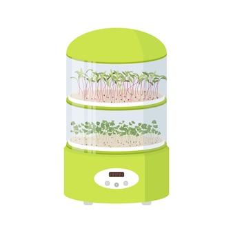 Germinatore con vassoi di germogli per micro verdure macchina per germogli per microverdi piatto arte vettoriale