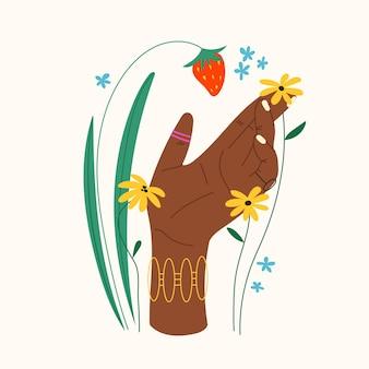 Gesto della mano con fiori e foglie composizione piatta alla moda con la mano che tiene una fragola