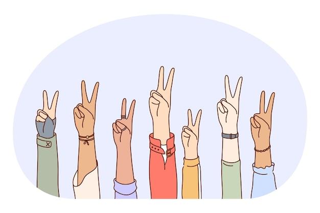 Linguaggio gestuale, concetto di segno di pace mano ok. mani di persone di razza mista che mostrano positivo la fortuna della pace