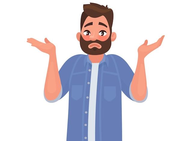 Gesto oops, scusa o non lo so. l'uomo alza le spalle e allarga le mani. in stile cartone animato