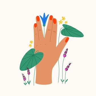 Gesto con fiori e foglie composizione piatta alla moda con la mano che tiene la ninfea