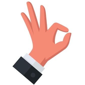Fai un gesto con la mano e mostra ca. va bene. illustrazione vettoriale piatto.