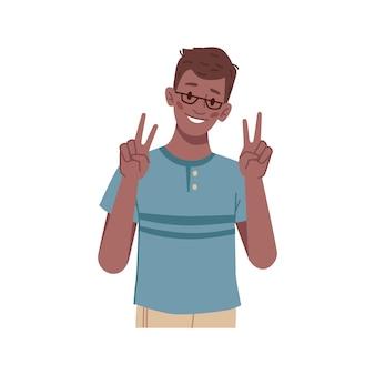 Gesticolando ragazzo che mostra vittoria o segno di pace scolaro isolato con gli occhiali simbolo di successo e