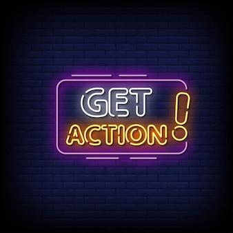 Ottieni vettore di testo in stile insegne al neon di azione