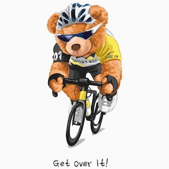 Superalo slogan con l'illustrazione del ciclista della bambola dell'orso