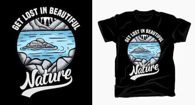 Perditi nella bellissima tipografia della natura con la maglietta dell'illustrazione