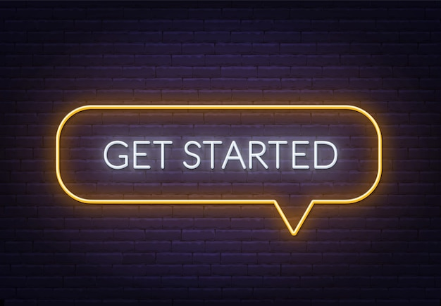 Inizia l'insegna al neon su uno sfondo di mattoni. facile cambiare il colore del telaio.