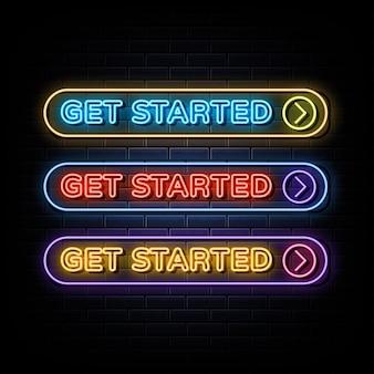 Inizia insegna al neon simbolo al neon