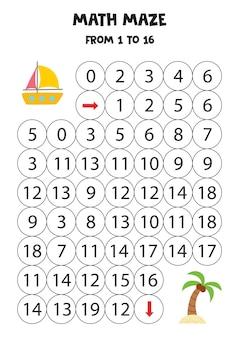 Porta lo yacht estivo sull'isola con la palma contando fino a 16.