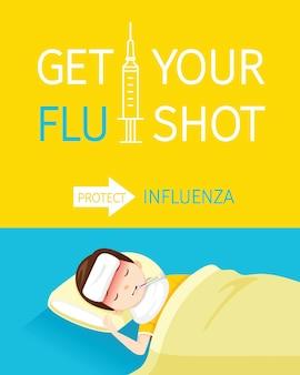 Ottieni la tua illustrazione di testi di vaccinazione antinfluenzale