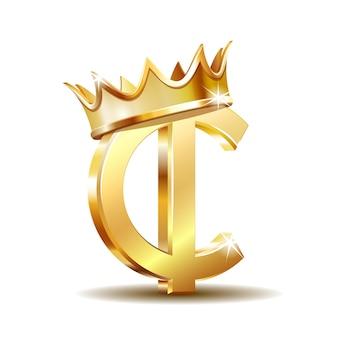 Simbolo di valuta ghana cedi con corona d'oro