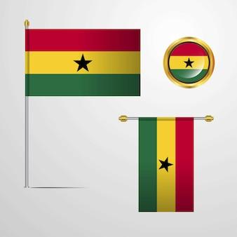Ghana sventolando la bandiera design con distintivo vettoriale
