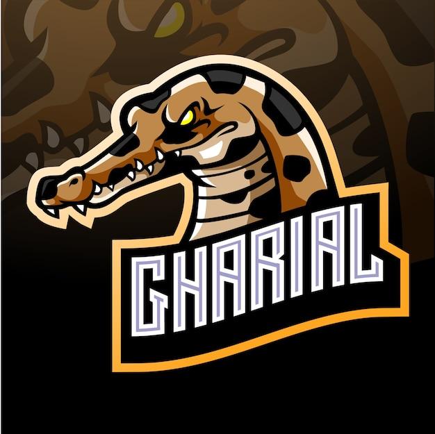Mascotte coccodrillo gharial. logo esport