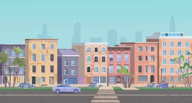 Paesaggio del ghetto, paesaggio urbano del quartiere povero con la strada della città dei bassifondi, baracche sporche