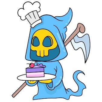 L'angelo fantasma della morte halloween porta una torta dolce da servire, scarabocchiare disegnare kawaii. arte dell'illustrazione
