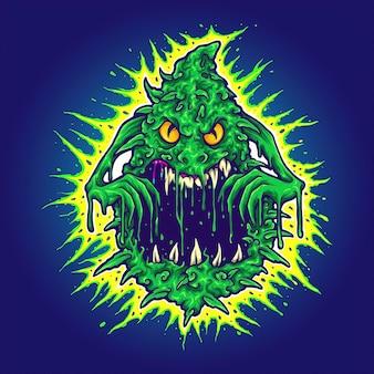Ghost cannabis weed monster illustrazioni vettoriali per il tuo lavoro logo, t-shirt con merchandising della mascotte, adesivi e design di etichette, poster, biglietti di auguri che pubblicizzano aziende o marchi.