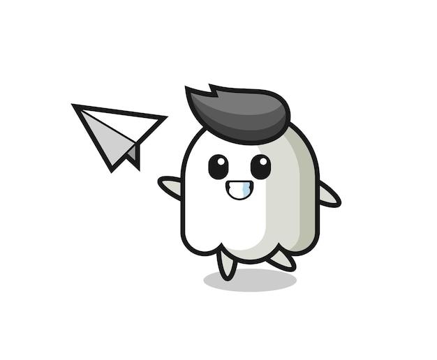 Personaggio dei cartoni animati fantasma che lancia aeroplano di carta, design in stile carino per maglietta, adesivo, elemento logo