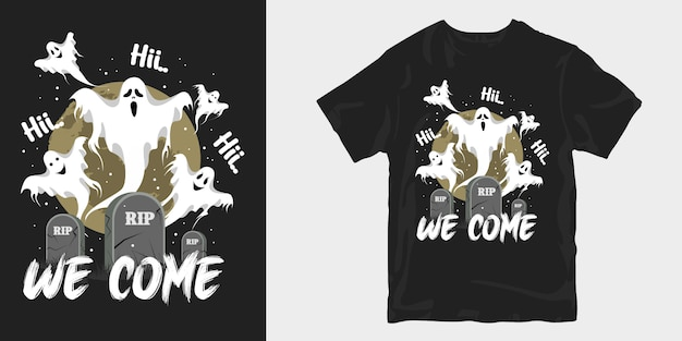 Merchandise della maglietta dell'illustrazione di halloween raccapricciante del fantasma