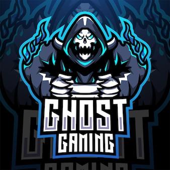 Design del logo della mascotte esport di gioco fantasma