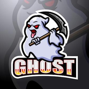 Design del logo esport della mascotte di gioco fantasma