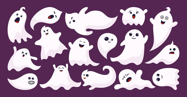 Fantasma fantasma horror piatto cartone animato set apparizione di halloween mostro spettrale semplice carino e spaventoso