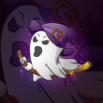 La strega fantasma per l'ispirazione del design della mascotte esport dell'illustrazione