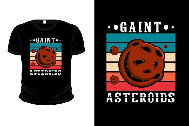 Sfondo retrò di design t-shirt con illustrazione di asteroidi giganti