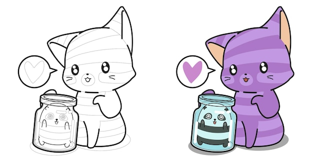Pagina da colorare di gatto gigante e panda è in una bottiglia per bambini