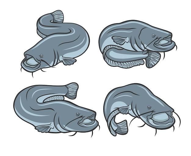 Pesce gatto gigante pesca logo design Vettore Premium