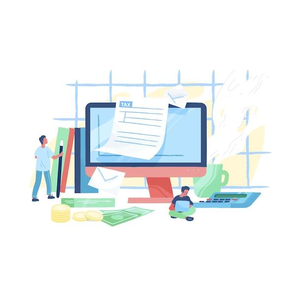 Computer gigante, persone minuscole o contribuenti seduti accanto a compilare moduli fiscali, banconote e monete